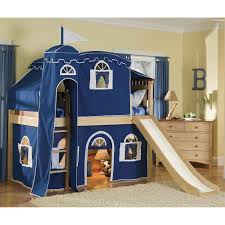 kids bed design comfort cozy nighttime castle loft playhouse