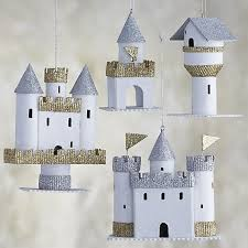 set of 4 paper castle ornaments in outlet ornaments