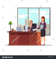 business executive secretary his desk giving stock vector