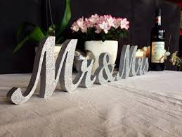 mr and mrs table decoration silver glitter mr mrs letters wedding table decoration