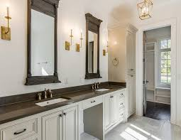 Restoration Hardware Bathroom Mirrors Gray And Gold Bathroom With Restoration Hardware Trumeau Mirrors