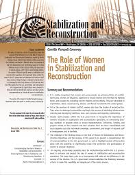 the role of women in stabilization and reconstruction united