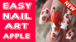 easy nail art tutorial for beginners apple nail tutorial youtube