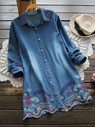 denim blouses casual embroidery wave hem turn collar denim blouses