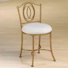 Shabby Chic Vanity Chair Elegant Golden Gilded Iron Vanity Chair With Round White Fabric