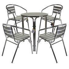 Chrome Bistro Chairs Marko Outdoor 3pc Aluminium Garden Furniture Bistro Stacking Table