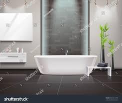 realistic bathroom interior mirror lighting stand stock vector