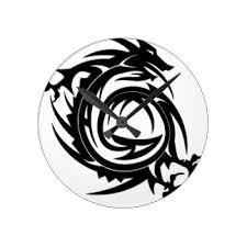 dragon tribal tattoo wall clocks zazzle