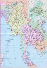Map Of Thailand Large Roads Map Of Burma And Thailand In Chinese Vidiani Com