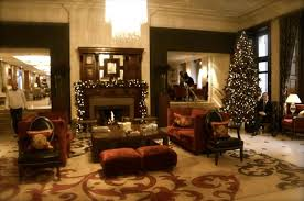 lobby area with fireplace and christmas tree picture of the