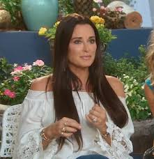 kyle richards hair extensions kyle richards white lace bell sleeve top kyle richards bell