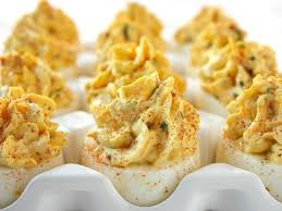 deviled egg dish bacon and cheddar deviled eggs recipe abc news