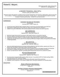 Senior Financial Analyst Sample Resume by Financial Analyst U003ca Href U003d