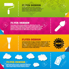 flyer brochure designs paint roller brush icons spray can