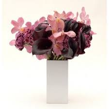 Purple Orchids Dramatic Purple Black Calla Lilies And Purple Orchids Are The
