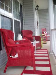 narrow porch with great red rockers and rug diy home decor ideas