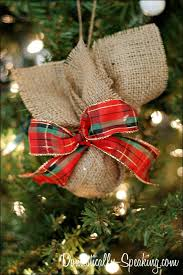 burlap plaid ornament domestically speaking