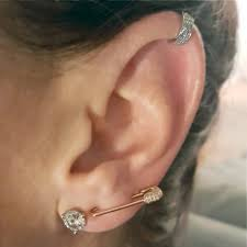 ear pin earrings stunning 14k gold and diamond safety pin earring the earstylist