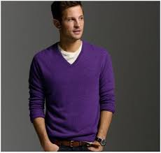 what kind of shirt do you wear with a purple v neck sweater ign