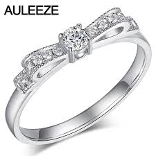 cincin emas putih auleeze berlian perhiasan padat 18 k 750 cincin emas putih