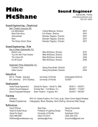 sound engineer field service technician resume by mike mcshane