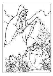 coloring pages of fairy godmother making cinderella u0027s vehicle out