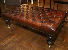 square leather coffee table furniture splendid brown leather tufted portable ottoman coffee