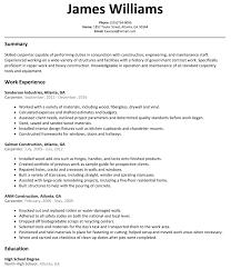 carpenter resume templates construction laborer resume examples