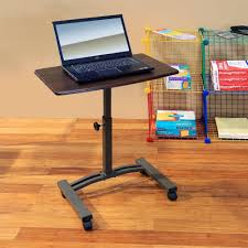 Mobile Computer Desk Seville Classics Walnut Laptop Desk Web162 The Home Depot