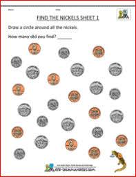 money worksheets kindergarten find the nickels sheet 1 math