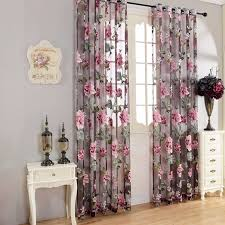 Purple Curtains For Living Room High Quality Flower Transparent Tulle Curtains Window Screen Decor