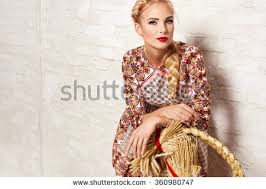 beautiful young blonde woman nice spring stock photo 360980741