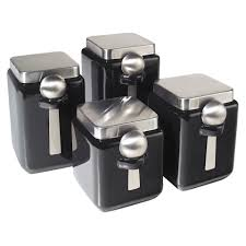 oggi 4 piece ceramic square canister set in black beyond the