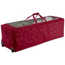 tree storage bag on wheels with ornament