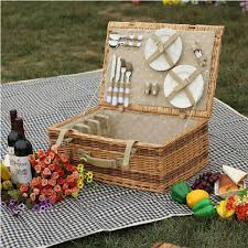 picnic basket set for 4 antique large wicker picnic basket with table mat for 4