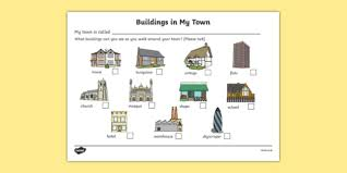buildings in my town worksheet houses and homes house home