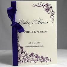 Booklet Wedding Programs Personalised Wedding Programs Ebay
