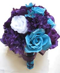 turquoise flowers wedding bouquet bridal silk flowers purple plum turquoise white 17