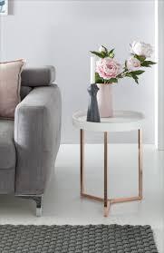 Wohnzimmertisch Metall Holz Wohnling Design Beistelltisch Weiß Kupfer ø 40 Cm Tabletttisch