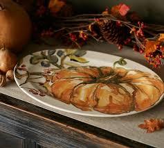 fall serving platters harvest pumpkin platter pottery barn