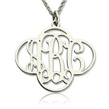 monogram necklace sterling silver necklace collector personalised cut out clover monogram necklace