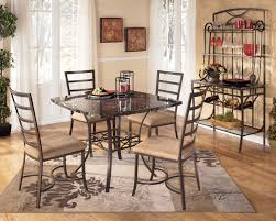 furniture square black granite dining table on grey rug connected