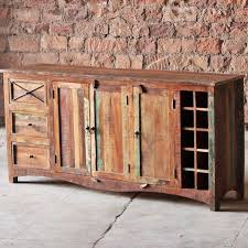 riya reclaimed wood sideboard cabinet and wine rack