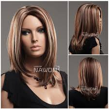 midium style straight hair wig brown and golden color price