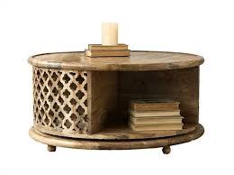 mango wood coffee table with storage round hand carved mango wood rotating coffee table da6446