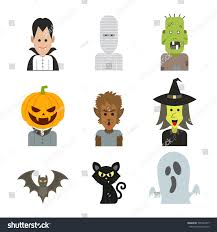 Cartoon Halloween Monsters Vector Icon Character Illustration Halloween Monsters Stock Vector