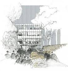 architectural freehand sketch of design concept for a forest