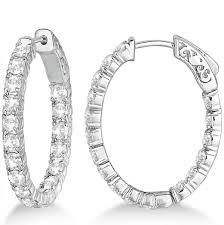 white gold diamond hoop earrings oval shaped diamond hoop earrings 14k white gold 3 57ct allurez