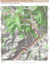 Map Of Zion National Park Das Boot Left Fork Of North Creek Hiking Guide Joe U0027s Guide To