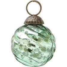 mini vintage green mercury glass ornament swirl design hanging